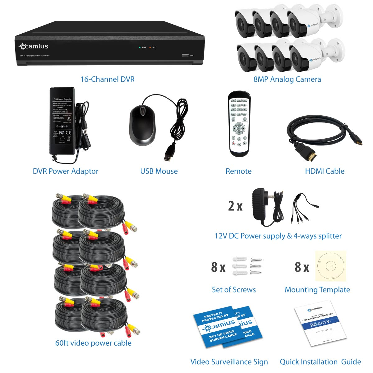 16 Channel DVR Security System, 8 Outdoor 8MP Bullet Cameras